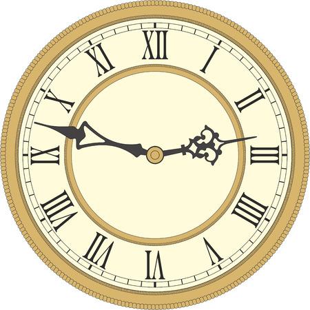 orologi antichi: Vector immagine di un round, vecchio orologio con i numeri romani. Vettoriali