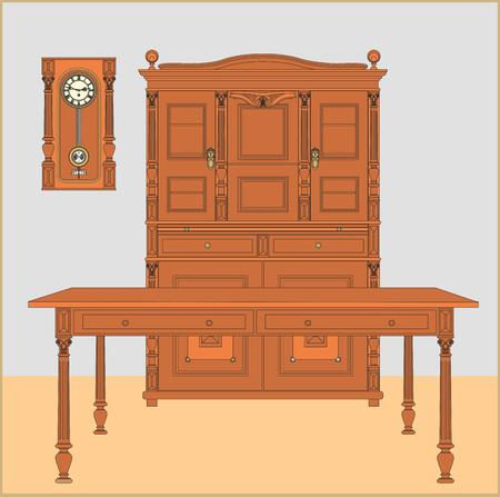 sideboard: Vintage sideboard, table and wall clocks. Illustration