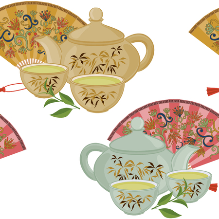 teapot: Seamless pattern with teapot, a small cup of green tea and fans.