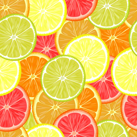 lemon lime: Seamless pattern of different citrus fruits. Orange, grapefruit, lemon, lime.