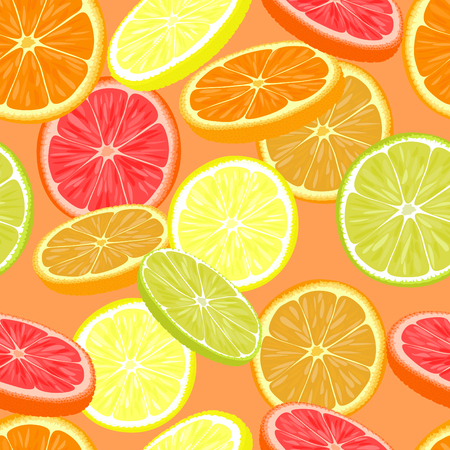 Seamless pattern of different citrus fruits. Orange, grapefruit, lemon, lime.