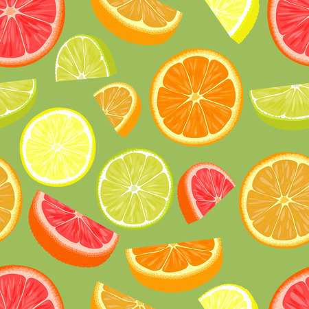 Seamless pattern of different citrus fruits. Orange, grapefruit, lemon, lime.