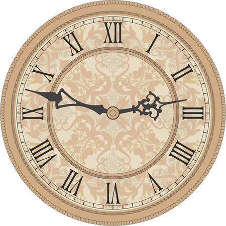 Vector beeld van een ronde, oude klok met Romeinse cijfers.