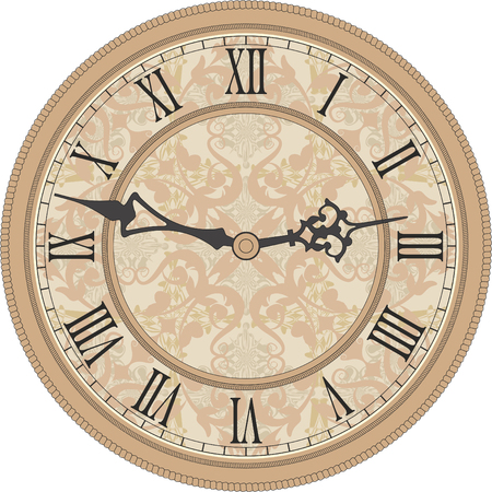 vintage wall: Vector image of a round, old clock with Roman numerals. Illustration