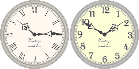 old clock: Vector image of a round, old clock with Roman or Arabic numerals.