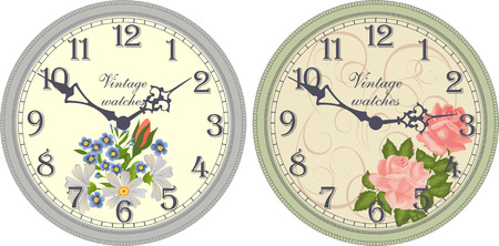 arabic numerals: Vector image of a round, old clock with Arabic numerals. Illustration