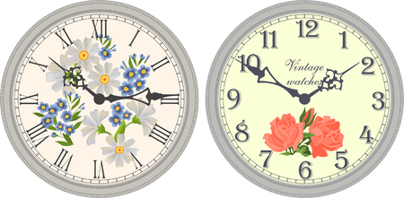 arabic numerals: Vector image of a round, old clock with Roman or Arabic numerals.