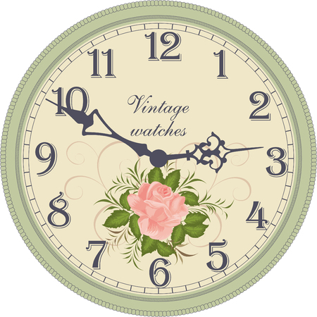 vintage wall: Vector image of a round, old clock with Arabic numerals. Illustration