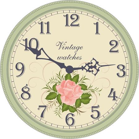 orologio da parete: Vector immagine di un round, vecchio orologio con numeri arabi. Vettoriali