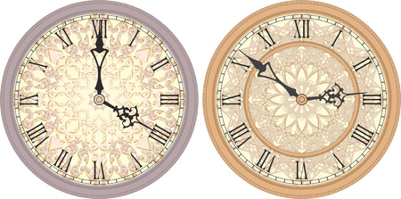 roman numerals: Vector image of a round, old clock with Roman numerals. Illustration