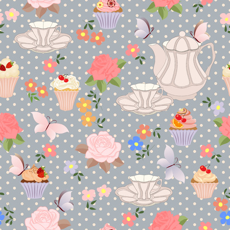 chocolate cupcakes: Seamless pattern with teapots, cups, cupcakes, flowers and butterflies.