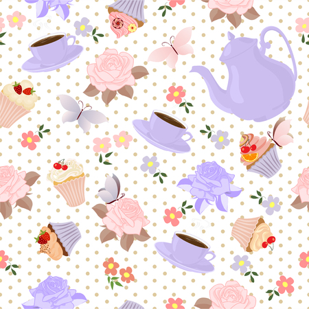 teapot: Seamless pattern with teapots, cups, cupcakes, flowers and butterflies.