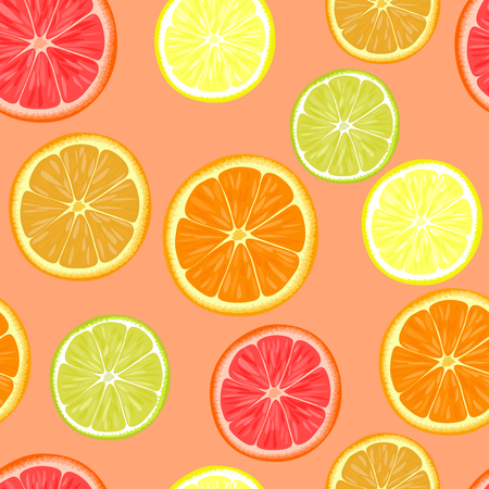grapefruits: Seamless pattern of different citrus fruits. Orange, grapefruit, lemon, lime.
