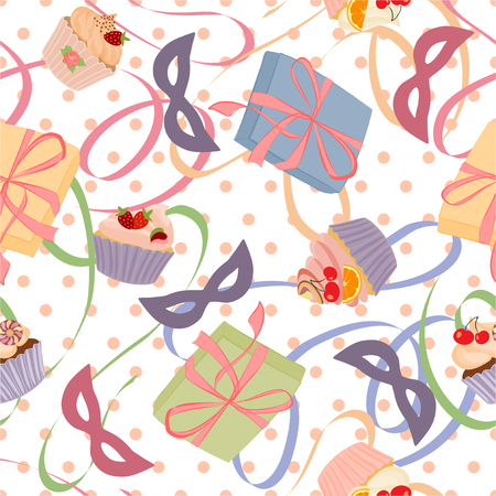 chocolate cupcake: Seamless pattern with gifts, cupcakes and cakes.