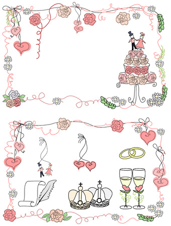 wedding rings: Card and a set of design elements for weddings in cartoon style. Illustration