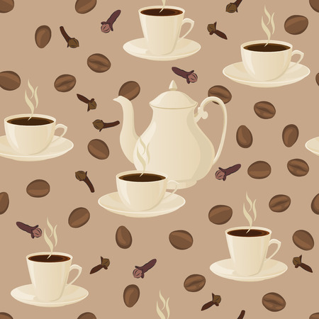coffee pot: Seamless pattern with coffee pot, cups and coffee beans.