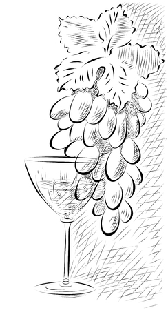 harvest background: Vector illustration in graphic style with a bunch of grapes and a glass.