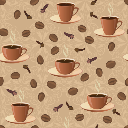 coffee background: Seamless pattern with cups of coffee and coffee beans.
