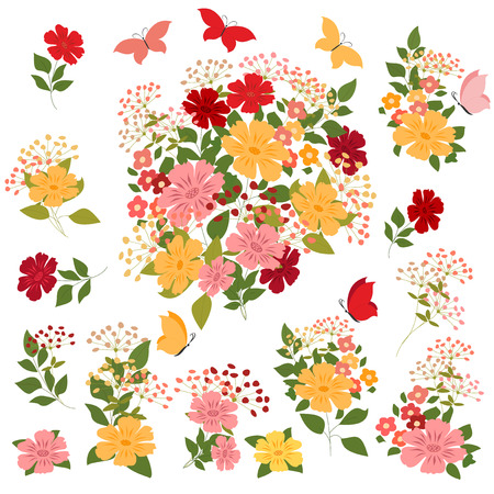 isolated background: set of flowers, butterflies and bouquets on a white background. Illustration