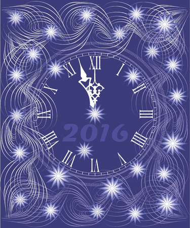 watch new year: New year background card with the watch. Illustration