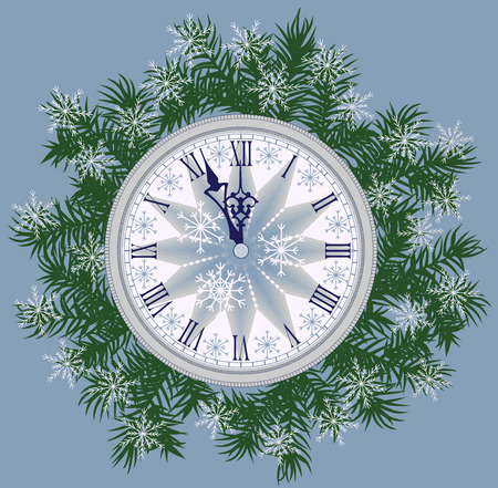 winter snow: New year background card with the watch. Illustration