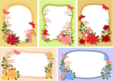 pink flower: Background, card with flowers and butterflies.