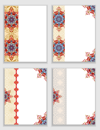 frame flower: Cards with traditional ornamental elements in Oriental style.