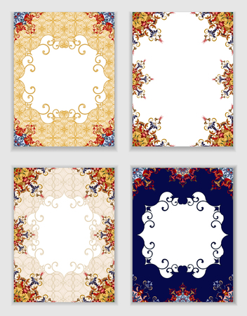 ornamental elements: Cards with traditional ornamental elements in Oriental style.