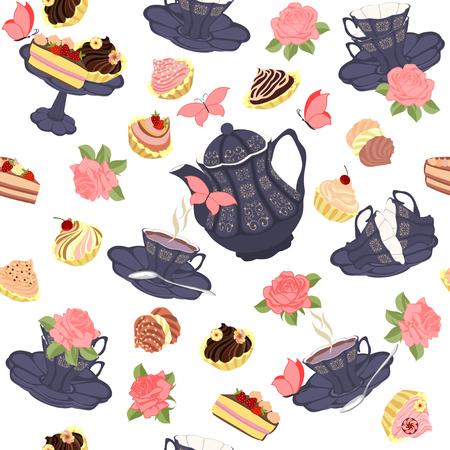tortas de cumpleaños: Vector patrón transparente con té, rosas y mariposas. Vectores