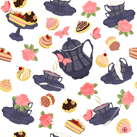 birthday cakes: Vector seamless pattern with tea, roses and butterflies.