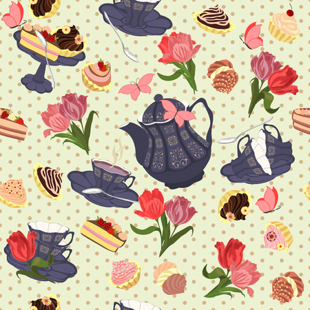 sweet shop: Vector seamless pattern with tea, tulips and butterflies.