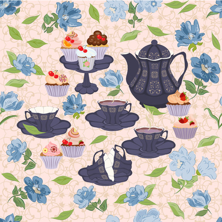 crockery: Vector seamless pattern with crockery for tea and blue flowers.