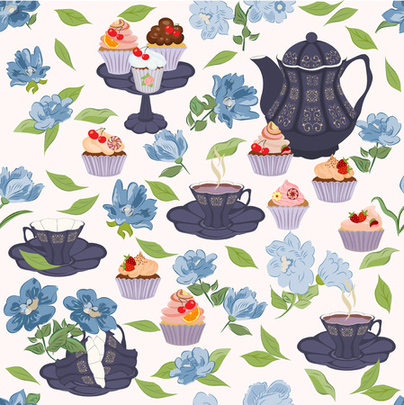 crockery: seamless pattern with crockery for tea and blue flowers. Illustration