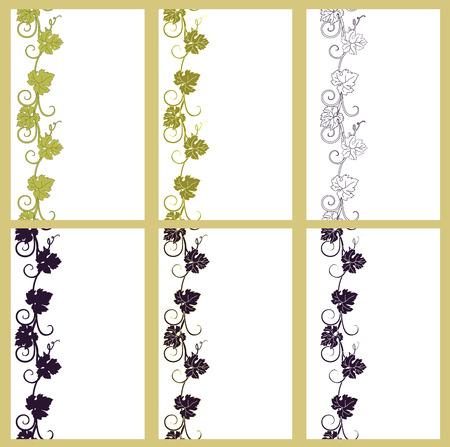 wine grape: Set of vector seamless patterns backgrounds  Illustration