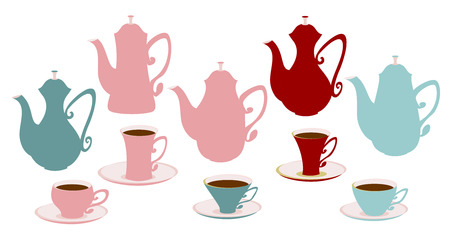 coffeepot: Set of icons of teapots, coffee pots and cups.