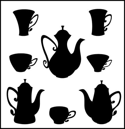 Vettore isolato stoviglie nero per tè e caffè.