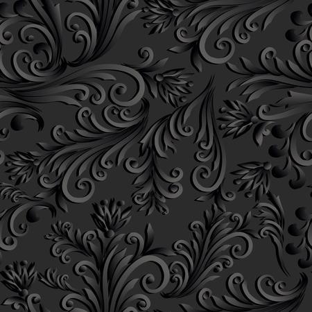 volumetric: Volumetric seamless floral pattern background.
