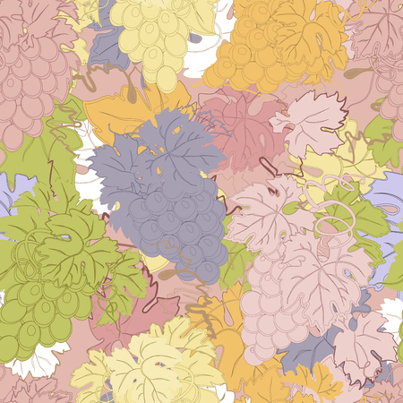 bunches: Seamless pattern with bunches of grapes. Illustration