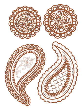Isolated mehndi floral elements in ethnic Oriental style. Illustration