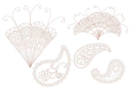 Isolated mehndi floral elements in ethnic Oriental style. Vectores