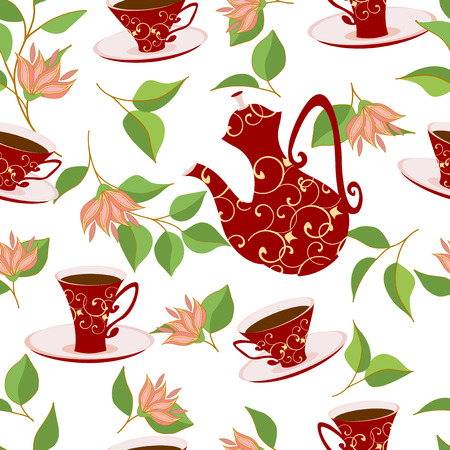 patterned: Red patterned kettle or coffee pot and red patterned Cup with a drink.