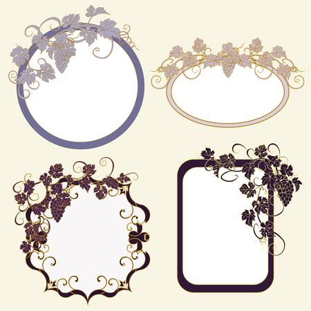 Set van frames met wijnstokken in vintage stijl.