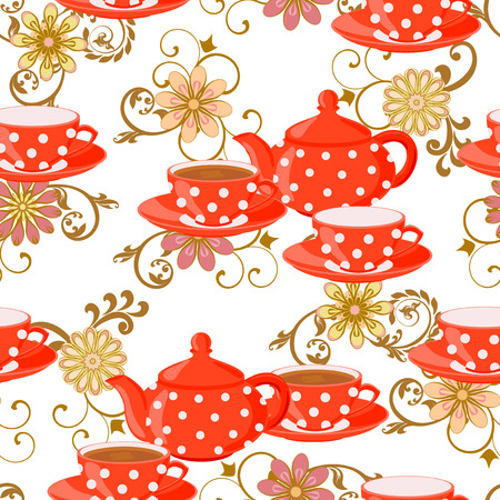 the fans: Seamless pattern with teapot, tea cups, flowers and fans.