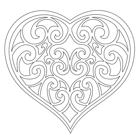 Modelado Corazón Para Colorear Páginas Dibujadas A Mano ...