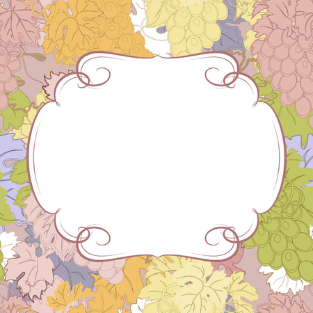 label frame: Background for your text with bunches of grapes.