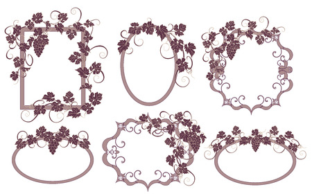 bunches: Background for text with vines and bunches of grapes.