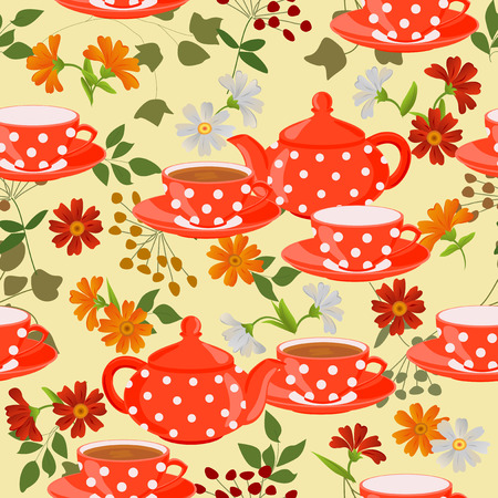 calendula: Seamless pattern with teapots, cups and medicinal plants.