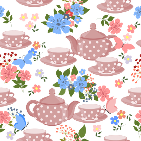 teapots: Seamless pattern with teapots, cups and butterflies. Illustration