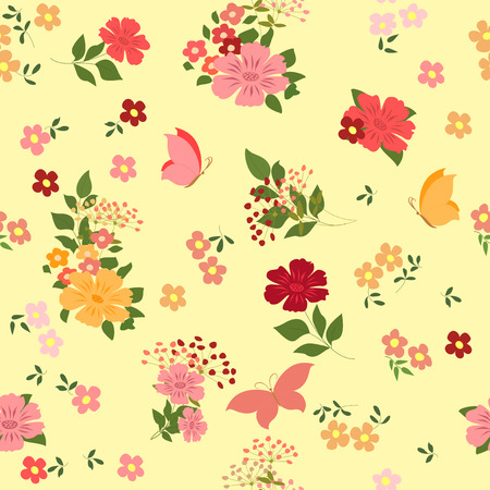 field of flowers: Seamless pattern with field flowers and butterflies.