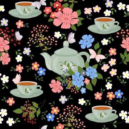 teapot: Seamless pattern with teapots, cups and butterflies. Illustration